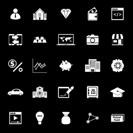 Passive income icons on black background, stock vector