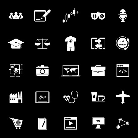 Online working icons on black background, stock vector Illustration