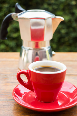Red cup of hot espresso shot, stock photo