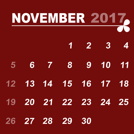 personal data assistant: Simple calendar template of november 2017, stock vector