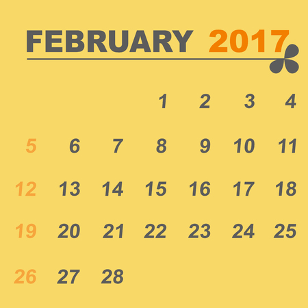 personal data assistant: Simple calendar template of february 2017, stock vector