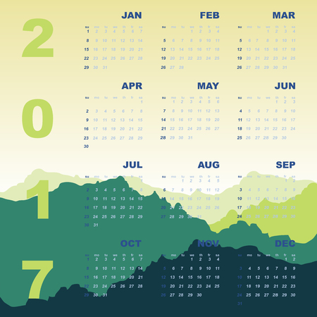 personal data assistant: Green mountain view of 2017 calendar Illustration