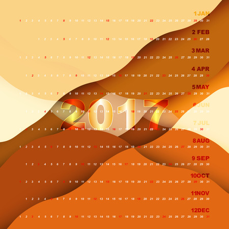 personal data assistant: 2017 calendar on orange abstract background Illustration