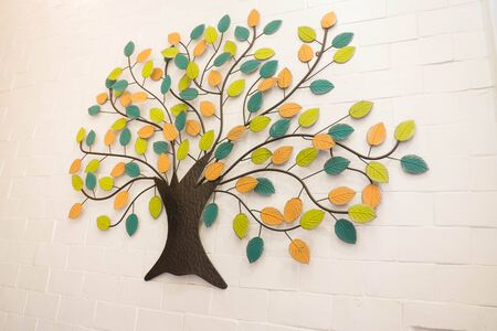 wall decoration: Beautiful wall decoration with colorful leaves tree, stock photo Stock Photo