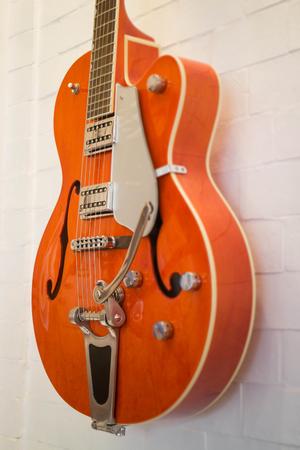 funk music: Beautiful electric guitar in the shop, stock photo