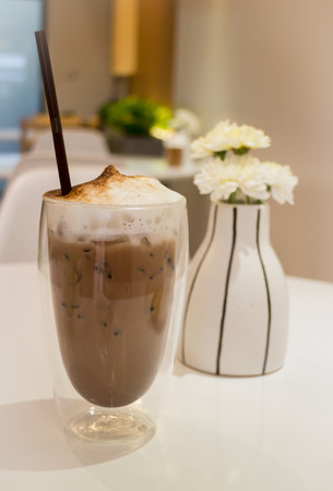 no movement: Glass Of Iced Milk Coffee Drink, stock photo