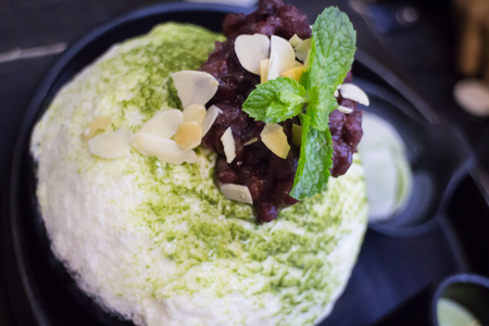 Green Tea Mochi Iced Cream And Shaved Ice, stock photo
