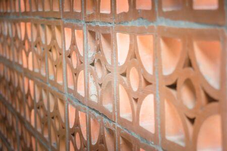 perforated: Brickwork Lattice Wall Home Interior, stock photo