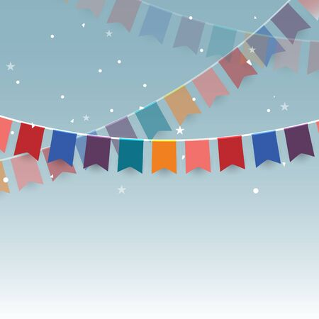 Colorful garlands or  festive flags and confetti. Stock vector Illustration