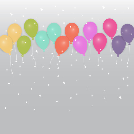 Colored party balloons and confetti, stock