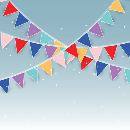 Colorful party flags and confetti stock