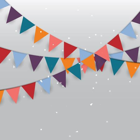Colored party flags and confetti, stock