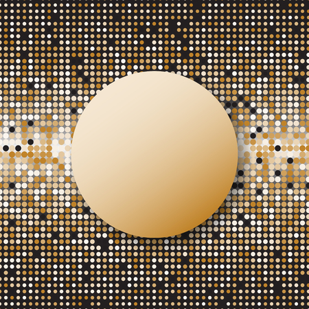 Circle halftone gold dots abstract background, stock vector Illustration