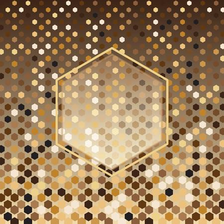 Hexagon gold halftone abstract background, stock vector