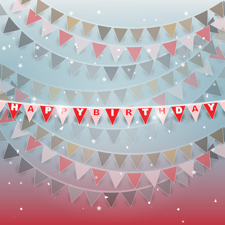 Happy birthday flags on beautiful background, stock vector
