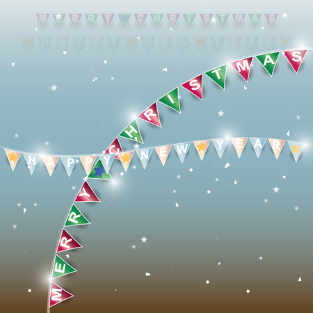 Background of new year flags with star and confetti, stock vector
