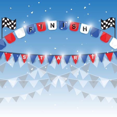 Finish and start flags on blue background, stock vector