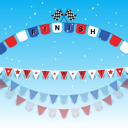 Finish and start flags with confetti, stock vector