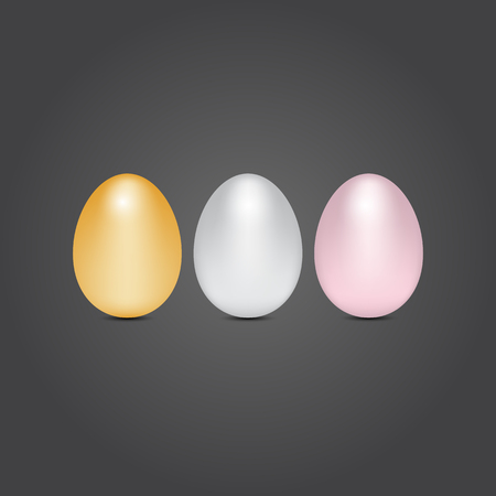 Gold silver and bronze eggs Illustration