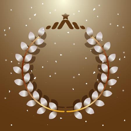 Imagination leaves laurel wreath with star, stock vector Illustration