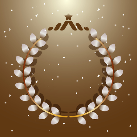 Imagination leaves laurel wreath with star, stock vector Illustration