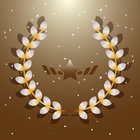 Imagination flora laurel wreath on brown background, stock vector Illustration