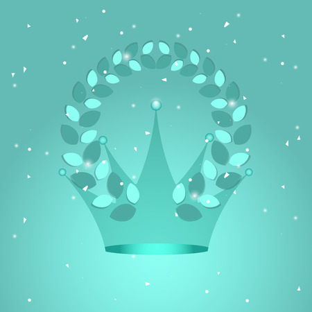Crown and laurel wreath on turquoise background, stock vector Illustration