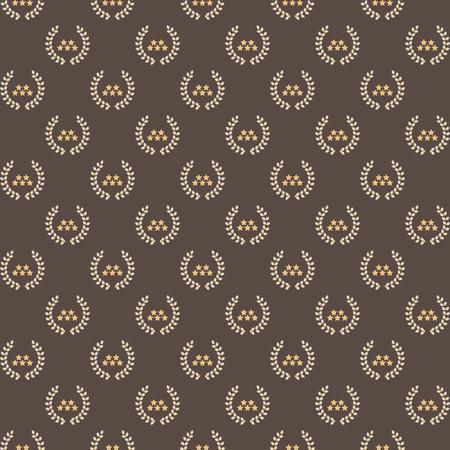 Stars and laurel wreath pattern background, stock vector. Illustration
