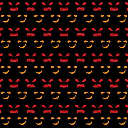 Nervous face emotion created halloween pattern background, stock vector Illustration