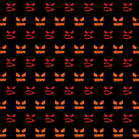 Scared face created halloween pattern background, stock vector Illustration