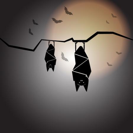 Create halloween night with sleep bats, stock vector