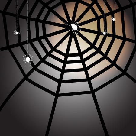 Created halloween full moon night with spiders, stock vector Illustration