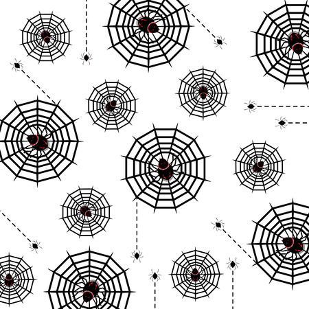 Halloween poison spider and web pattern background, stock vector Illustration