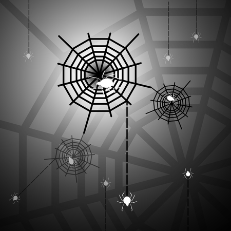 Created halloween night with spiders and webs, stock vector Illustration