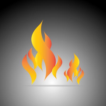Design fire flame element on dark background, stock vector