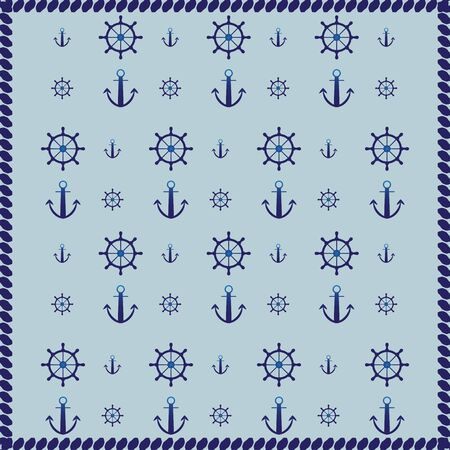 Ship wheel, anchor and rope abstract pattern background, stock vector Illustration