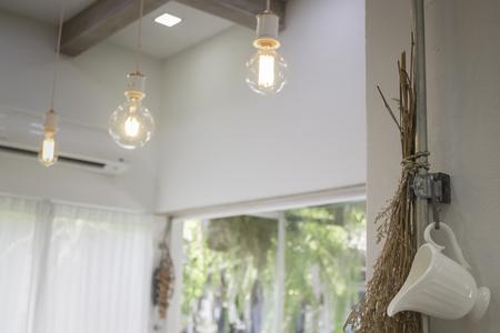 Minimal style interior decorated with vintage light bulbs, stock photo Standard-Bild