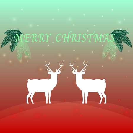 Created merry christmas background with reindeer, stock vector