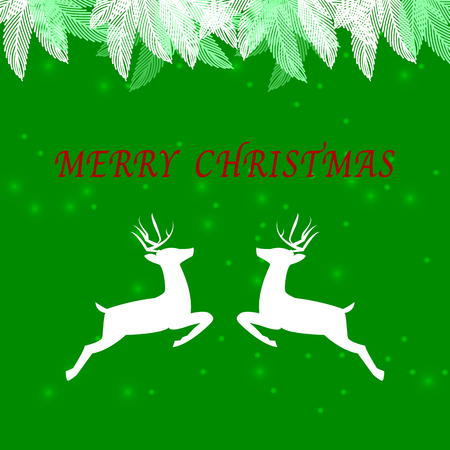 Created merry christmas background with reindeer jump, stock vector Illustration