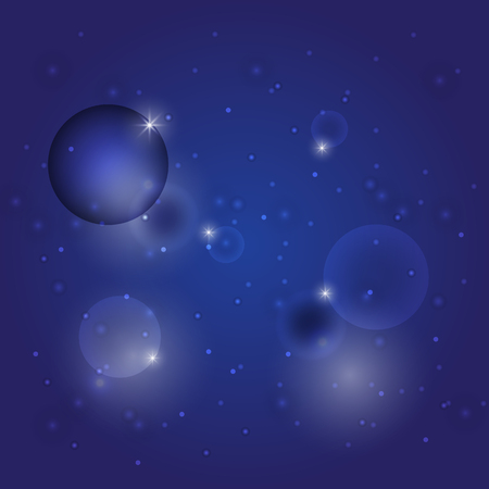 Abstract star wink circle on dark blue background, stock vector