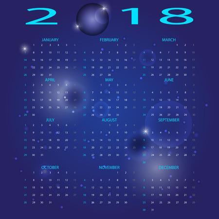 Abstract blue space 2018 calendar, stock vector Illustration