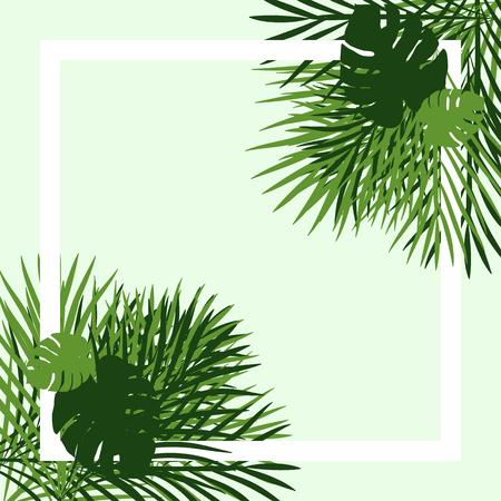 Green tropical garden picture frame, stock vector Illustration