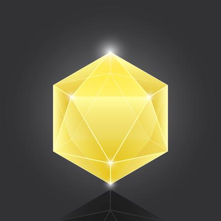 Create polygon geometric gemstone element on grey background, stock vector