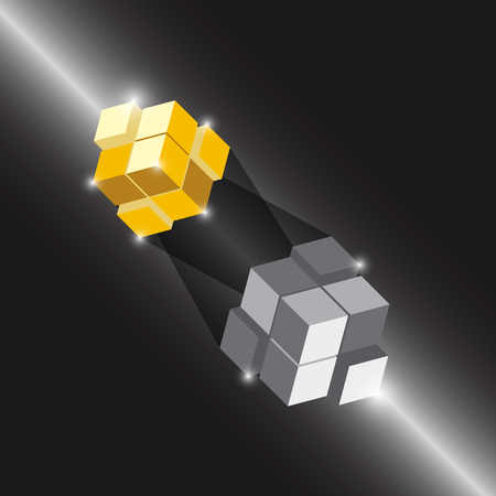 Create 3D cube design element with thunder light, stock vector Illustration