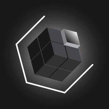 Create 3D cube design element on black background, stock vector Illustration