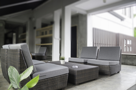 Chillout lounge on loft terrace, stock photo
