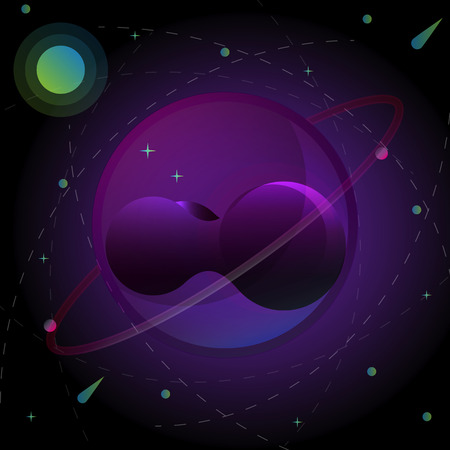 Illusion planet creativity abstract background, stock vector Çizim