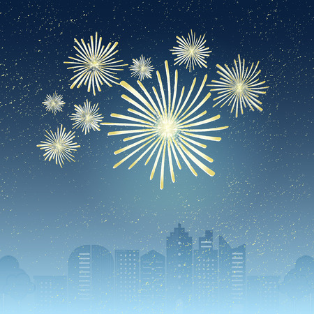 Created city with firework sky background, stock vector