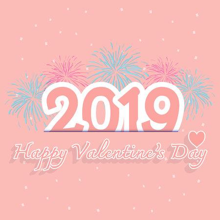 2019 happy valentinesday with firework stock vector
