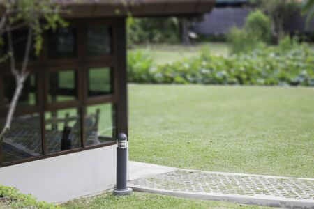 Lovely garden with footpath in summer, stock photo Stok Fotoğraf